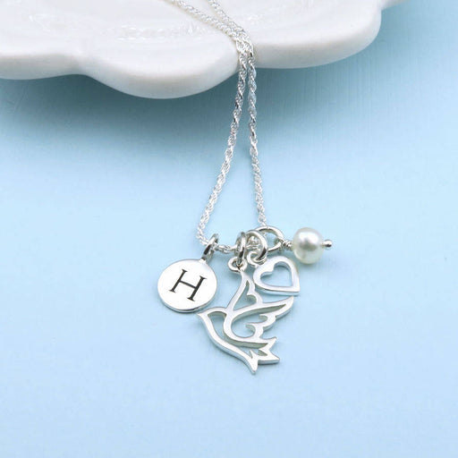 "Peaceful Love 925 Sterling Silver Personalized Initial Necklace With Birthstone Adjustable 16""-20"""