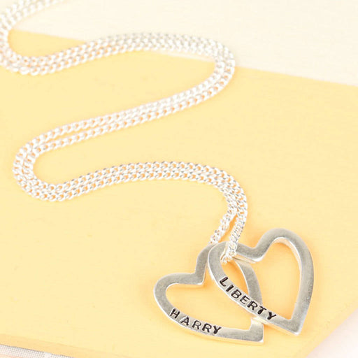 "925 Sterling Silver Personalized Heart To Heart  Engravable Necklace-Adjustable 16""-20"""