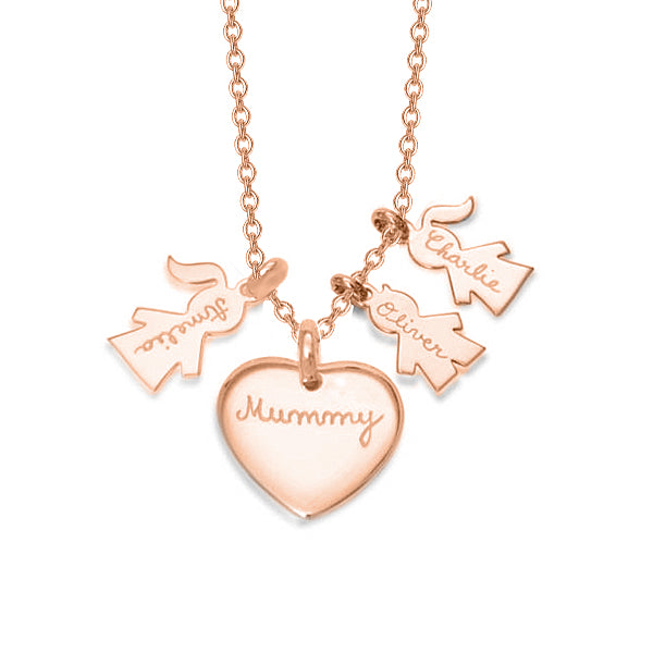 "Copper/925 Sterling Silver Personalized Love Heart Family Necklace Adjustable 16""-20"""
