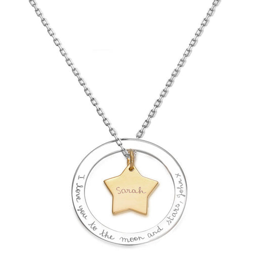 "925 Sterling Silver Personalized Engravable Loop Star Necklace-Adjustable 16""-20"""