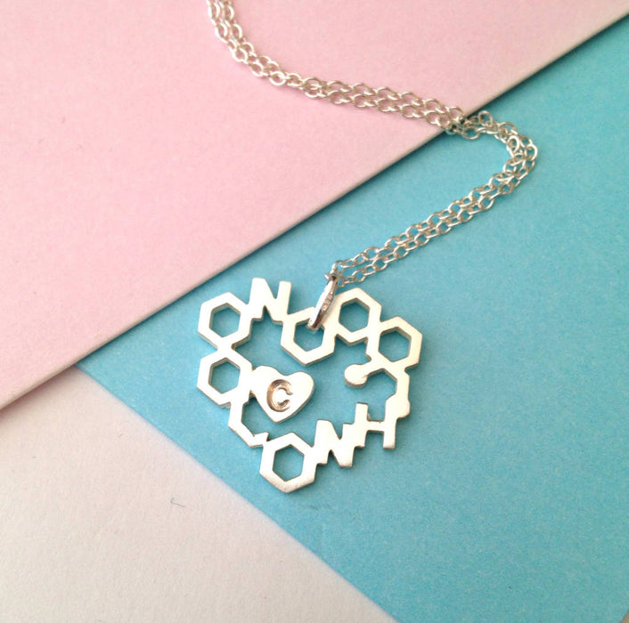 "925 Sterling Silver Personalized Random Combination Chemical symbol Heart Engraved Necklace-Adjustable 16""-20"""