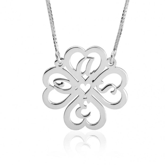"Lucky 925 Sterling Silver Personalized Heart Clover  Initial Necklace Adjustable 16""-20"""