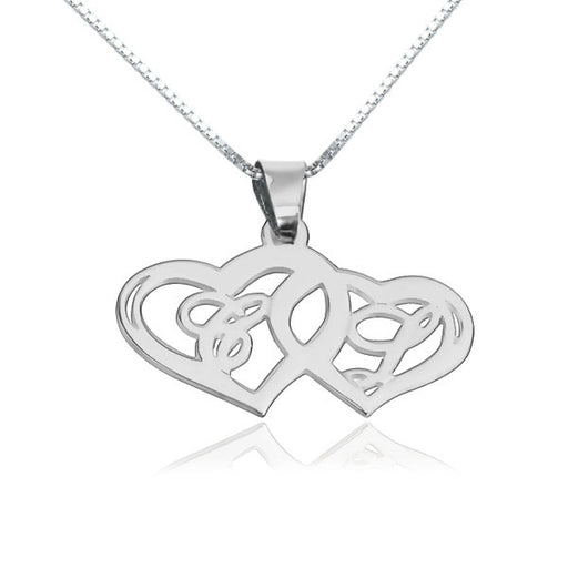 "Copper/925 Sterling Silver Personalized Heart To Heart Adjustable 16""-20"" Initial Necklace"
