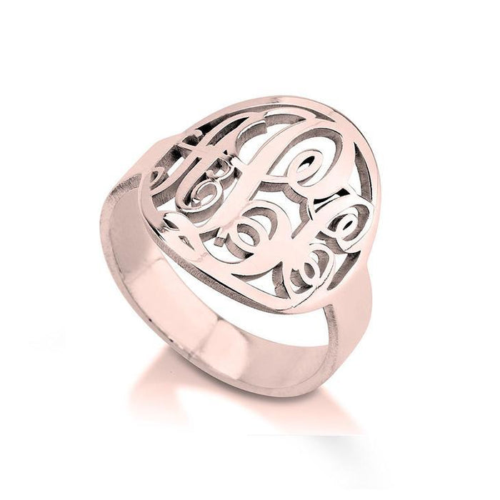 925 Sterling Silver Personalized Cutout Framed Monogram Ring