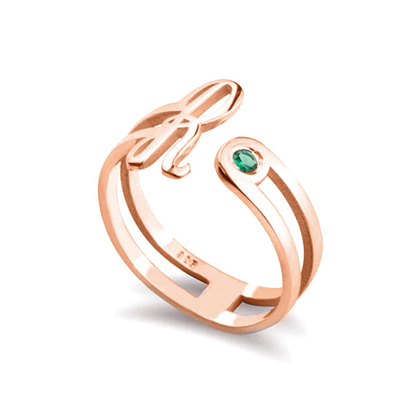 Copper/925 Sterling Silver Personalized Birthstone Open Ring With Initial