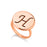 Copper/925 Sterling Silver Personalized Engraved Initial Round Ring