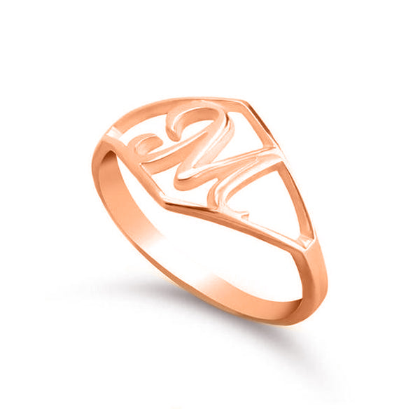 Copper/925 Sterling Silver Personalized Script Initial Ring