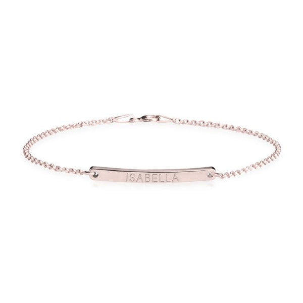 "925 Sterling Silver Personalized Skinny Bar Bracelet Length Adjustable 6""-7.5"""