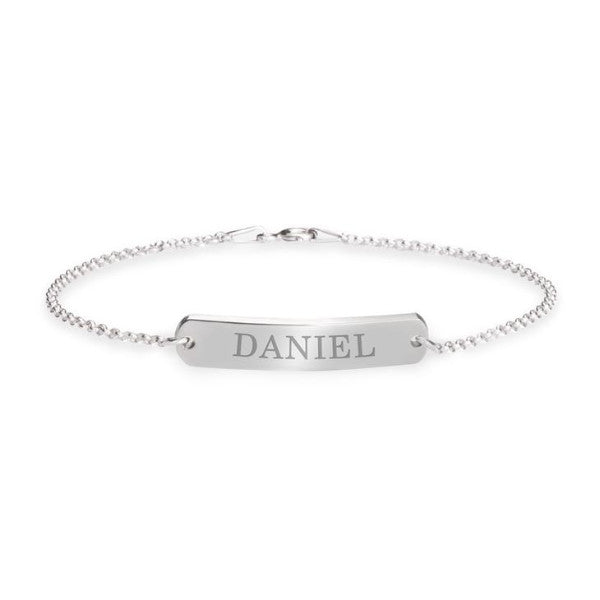 "925 Sterling Silver Personalized Classic Name Bar Bracelet Length Adjustable 6""-7.5"""