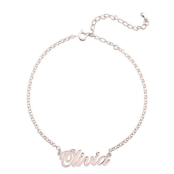 "925 Sterling Silver Personalized Name Bracelet Length Adjustable 6""-7.5"