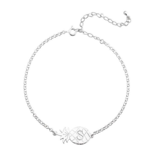 "925 Sterling Silver Personalized Charm Bracelets with Pineapple  Adjustable 6""-7.5"""
