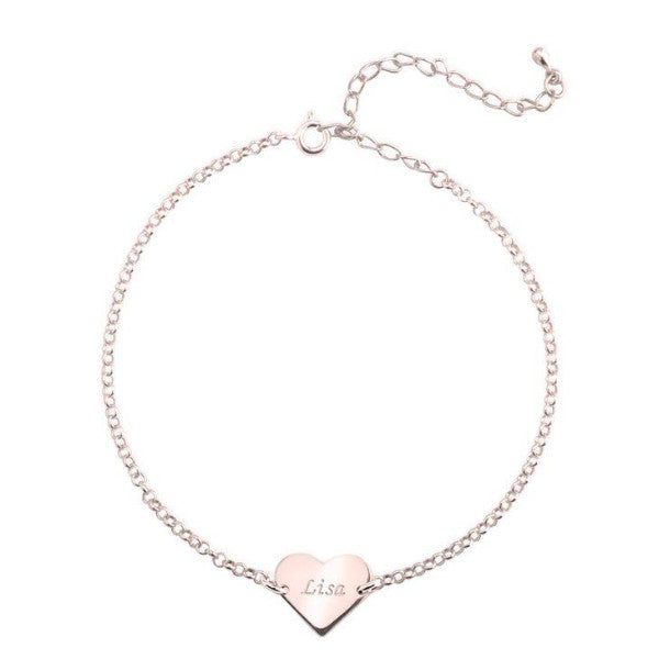 "925 Sterling Silver Personalized Heart Anklet Adjustable 8.5""-10"""