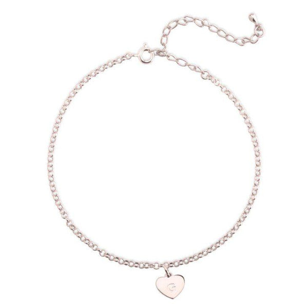 "925 Sterling Silver Personalized Initial Heart Anklet Adjustable 8.5""-10"""