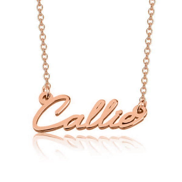 "Callie - 925 Sterling Silver Personalized Dainty Name Necklace Adjustable Chain 16""-20"