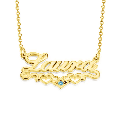 "Laura - 925 Sterling Silver/10K/14K/18K Personalized Name Necklace with Underline Hearts Adjustable Chain 16""-20"""