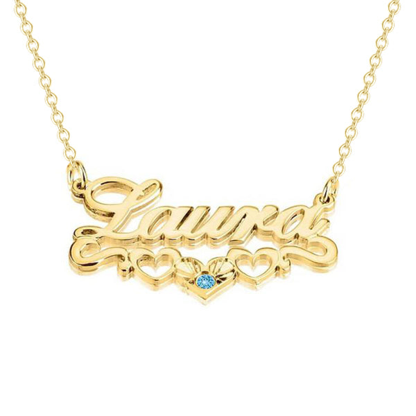 Copper 925 Sterling Silver Personalized Name Necklace With Underline Hearts Adjustable Chain 16 20