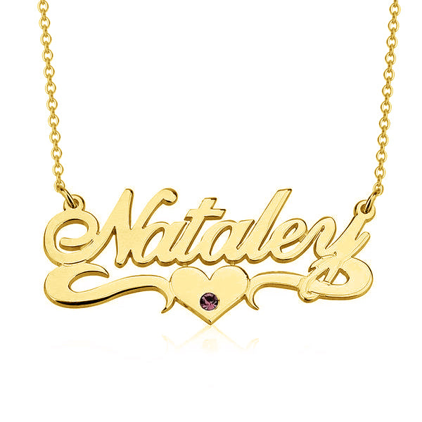 "Nataler - 925 Sterling Silver Personalized Crystal Name Necklace With Underline Hearts Adjustable Chain 16""-20"""