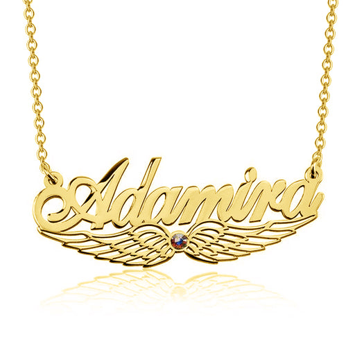 "Angels Wings - 925 Sterling Silver/10K/14K/18K Personalized Angel Wing Swarovski Name Necklace Adjustable Chain 16""-20"""