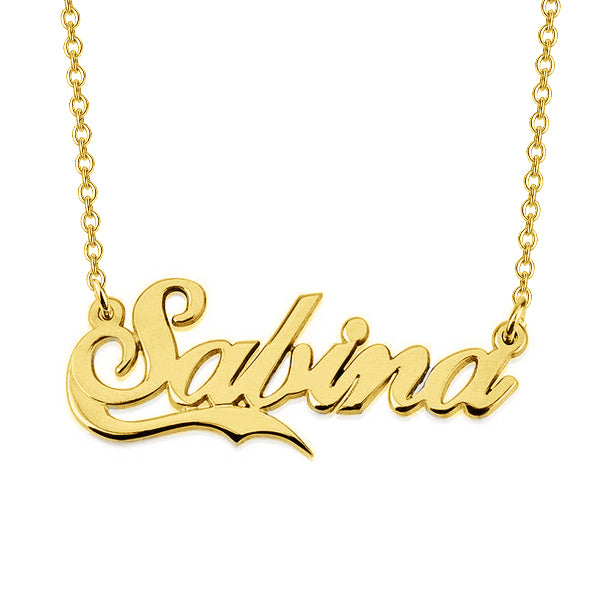 "Salina - 925 Sterling Silver Personalized Names Necklace With Fancy Underline Adjustable Chain 16""-20"