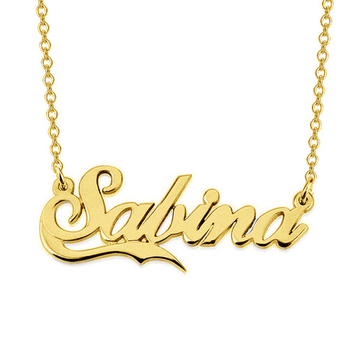 "Salina - 925 Sterling Silver Personalized Names Necklace With Fancy Underline Adjustable Chain 16""-20"""
