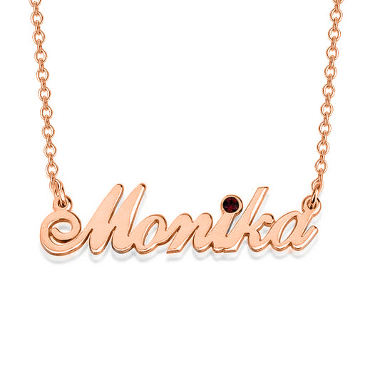 "Monika - Copper/925 Sterling Silver Personalized Swarovski Classic Name Necklace Adjustable Chain 16""-20"""