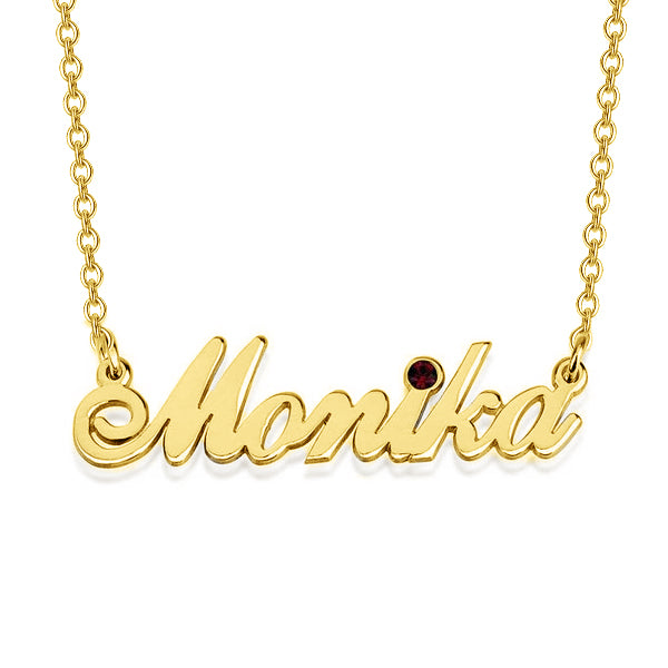 "Monika - 925 Sterling Silver Personalized Swarovski Classic Name Necklace Adjustable Chain 16""-20"""