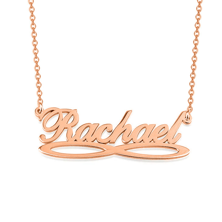 "Rachael - 925 Sterling Silver Personalized Infinity Underline Names Necklace Adjustable Chain 16""-20"