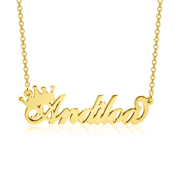 "Andiloa - 925 Sterling Silver Personalized Queen Crown Name Necklace Adjustable Chain 16""-20"