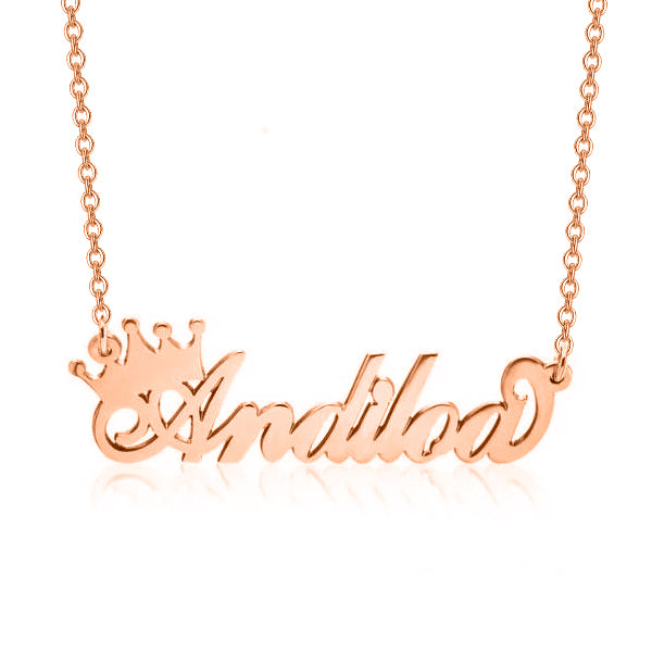 "Copper/925 Sterling Silver Personalized Queen Crown Name Necklace Adjustable Chain 16""-20"