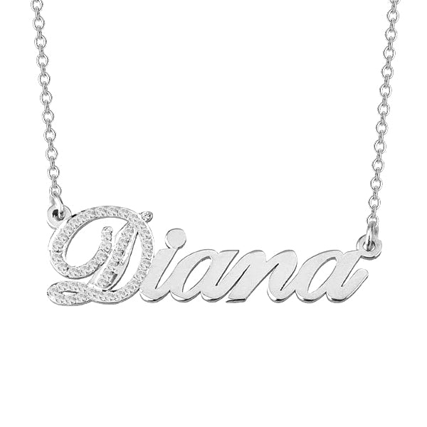 "Diana - 925 Sterling Silver Personalized Cubic Zirconia Initial Name Necklace Adjustable Chain 16""-20"