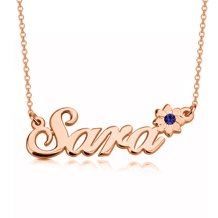 "Sara - 925 Sterling Silver Personalized Swarovski Flower Name Necklace Adjustable Chain 16""-20"""