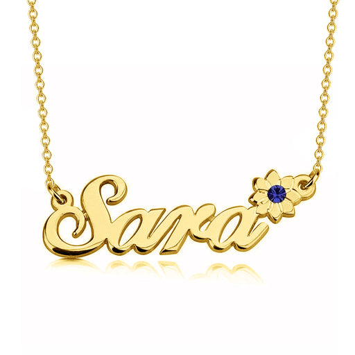 "Sara - 925 Sterling Silver Personalized Crystal Flower Name Necklace Adjustable Chain 16""-20"""