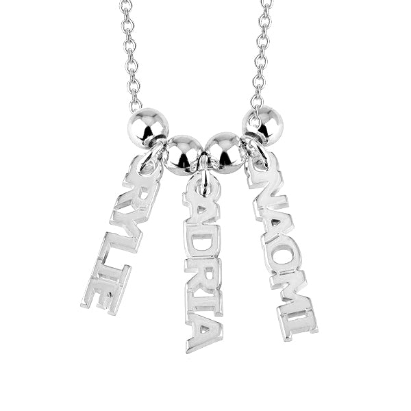 "RYLIE ADRIA NAOMI - 925 Sterling Silver Personalized Dangling Name Necklace Adjustable Chain 16""-20"