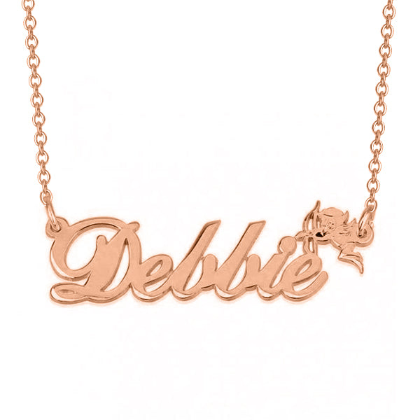 "Dellie - 925 Sterling Silver Personalized Name Necklace with Cupid Adjustable Chain 16""-20"""
