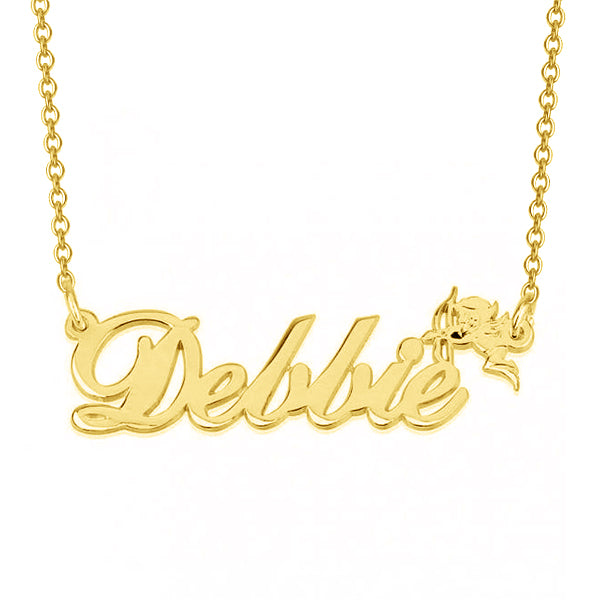 "Dellie - 925 Sterling Silver Personalized Name Necklace with Cupid Adjustable Chain 16""-20"