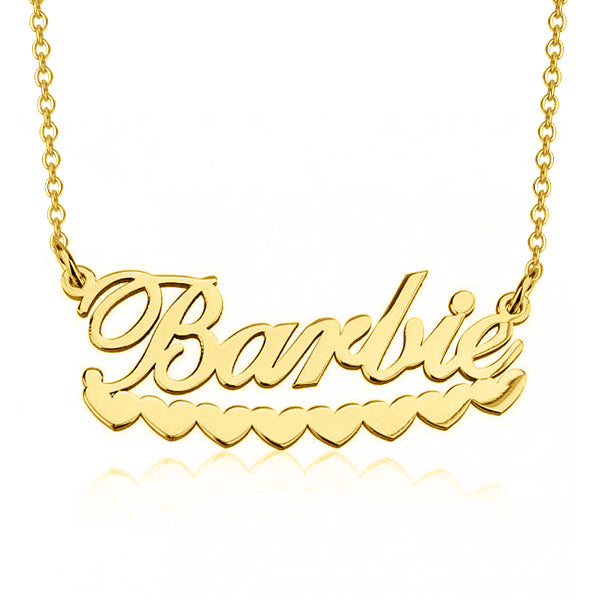 "Barlie - 925 Sterling Silver Personalized Barbie Hearts Name Necklace Adjustable Chain 16""-20"