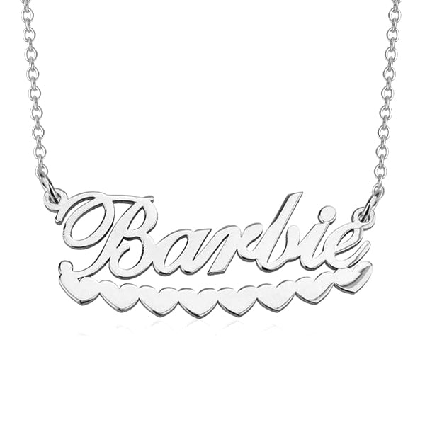 "Barlie - 925 Sterling Silver Personalized Barbie Hearts Name Necklace Adjustable Chain 16""-20"""