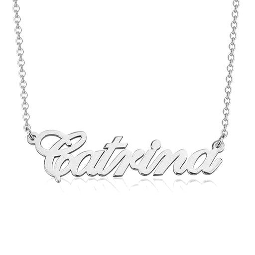 "Catrina - 925 Sterling Silver Personalized Classic Name Necklace Adjustable Chain 16""-20"""