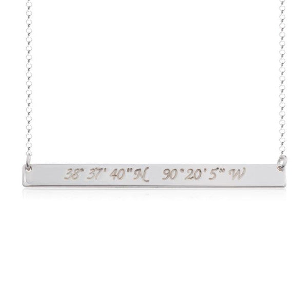 "925 Sterling Silver Personalized Coordinate Bar Necklace Adjustable 16""-20"""