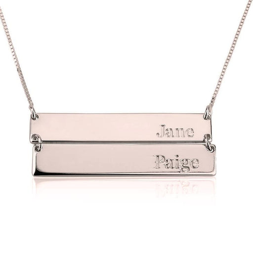 "925 Sterling Silver Personalized Double Bar Necklace Adjustable 16""-20"""