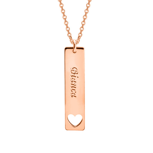 "Copper/925 Sterling Silver Personalized Vertical Name Bar Necklace With Heart Adjustable 16""-20"""