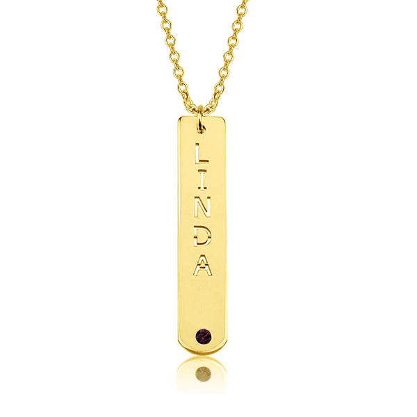 "Copper/925 Sterling Silver Personalized Vertical Bar Necklace with Birthstone Adjustable 16""-20"""