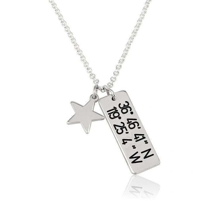 "Copper/925 Sterling Silver Personalized Vertical Coordinates Necklace With Star Adjustable 16""-20"""