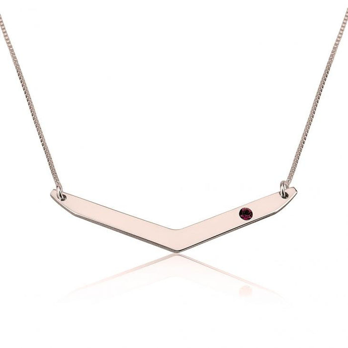 "Copper/925 Sterling Silver Personalized Chevron Necklace with Birthstone Necklace Adjustable 16""-20"""