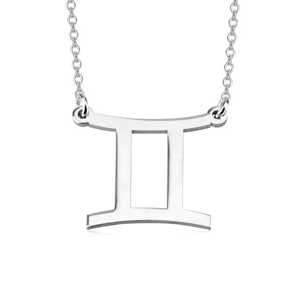 "Gemini Zodiac 925 Sterling Silver Personalized Engraved Necklace Adjustable 16""-20"""