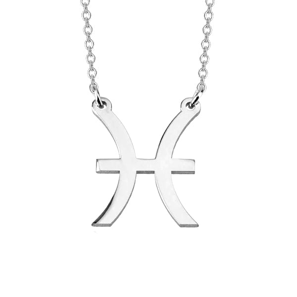 "Pisces Zodiac 925 Sterling Silver Personalized Engraved Necklace Adjustable 16""-20"""
