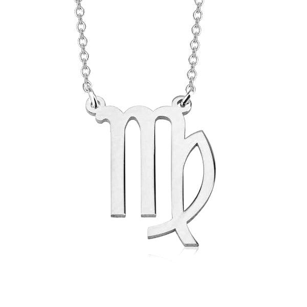 "Virgo Zodiac 925 Sterling Silver Personalized Engraved Necklace Adjustable 16""-20"""