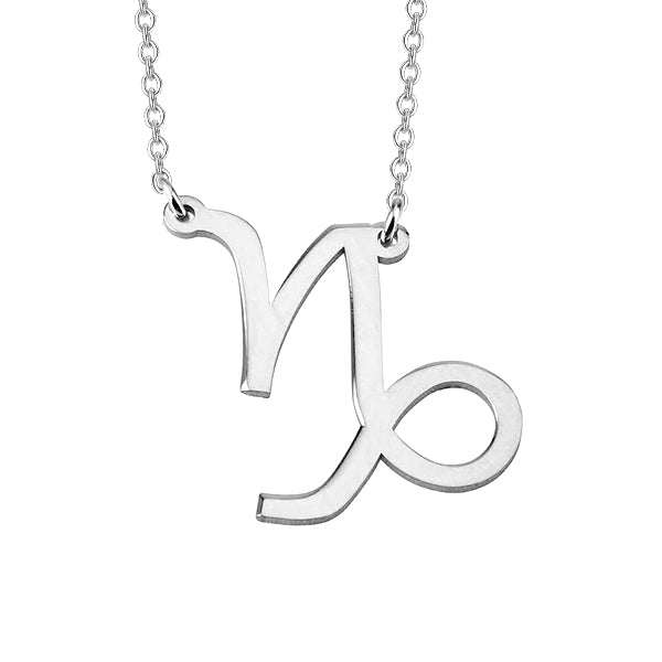 "Capricorn Zodiac 925 Sterling Silver Personalized Engraved Necklace Adjustable 16""-20"""