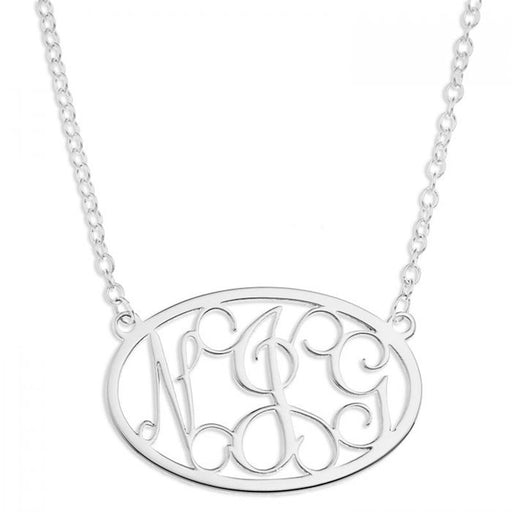 "Oval 925 Sterling Silver Personalized Monogram Necklace Adjustable 16""-20"""