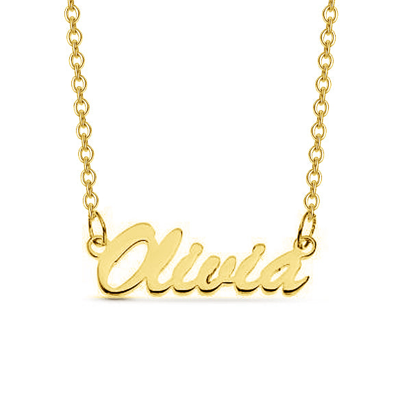 "Olivia - 925 Sterling Silver Personalized Script Name Necklace Adjustable Chain 16""-20"""